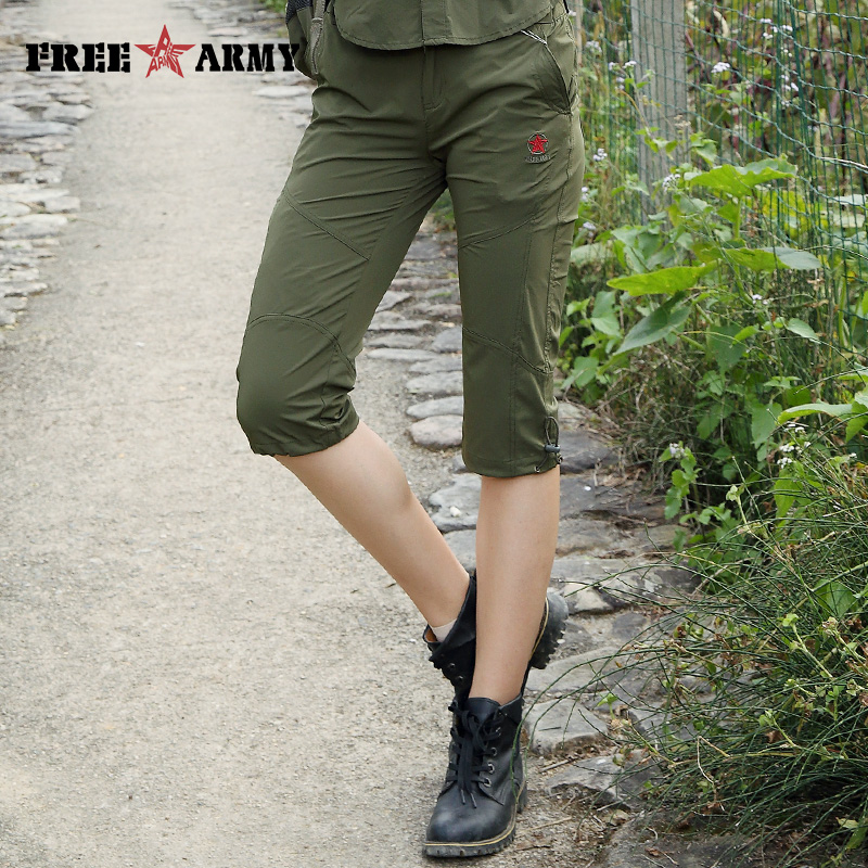 Women's Tactical Army   Pant   Military Style Uniforms Clothing 3/4 Length Casual   Capris   Female Trouser Solid Green   Pants   GK-9530A