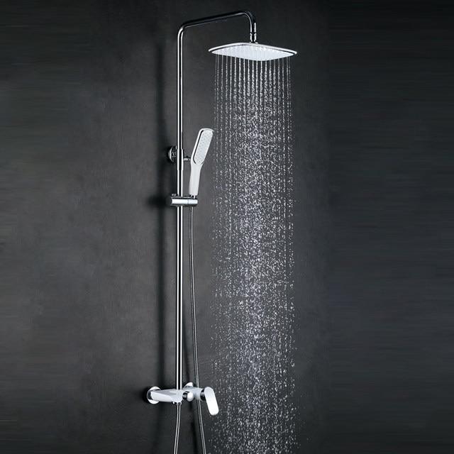 Online Shop Wall Concealed Shower Faucet Set Rain Showerhead White ...
