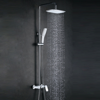 Wand Verborgen Duscharmatur Set Regen Duschkopf Weiß + Golden Shower Messing Duscharmatur Wasserhahn Schwarz Chrom Dusche MBoenn