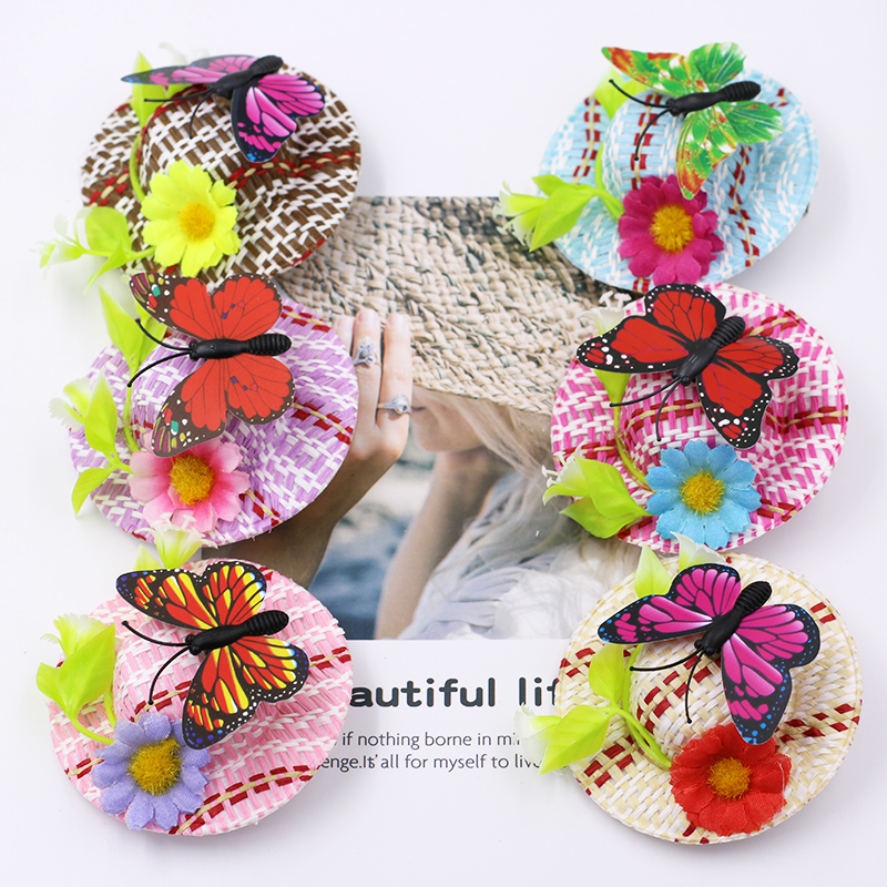 3pcs New Fashion Straw Hat Hair Clip Floral Hairpins for Girls Butterfly Artificial Flowers Leafs Hair Accessories for Children