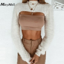 MayHall Long Lantern Sleeve Mohair Cropped Autumn Winter jumper Sexy Mock Neck Sweater Short Pullovers casaco feminino MH307