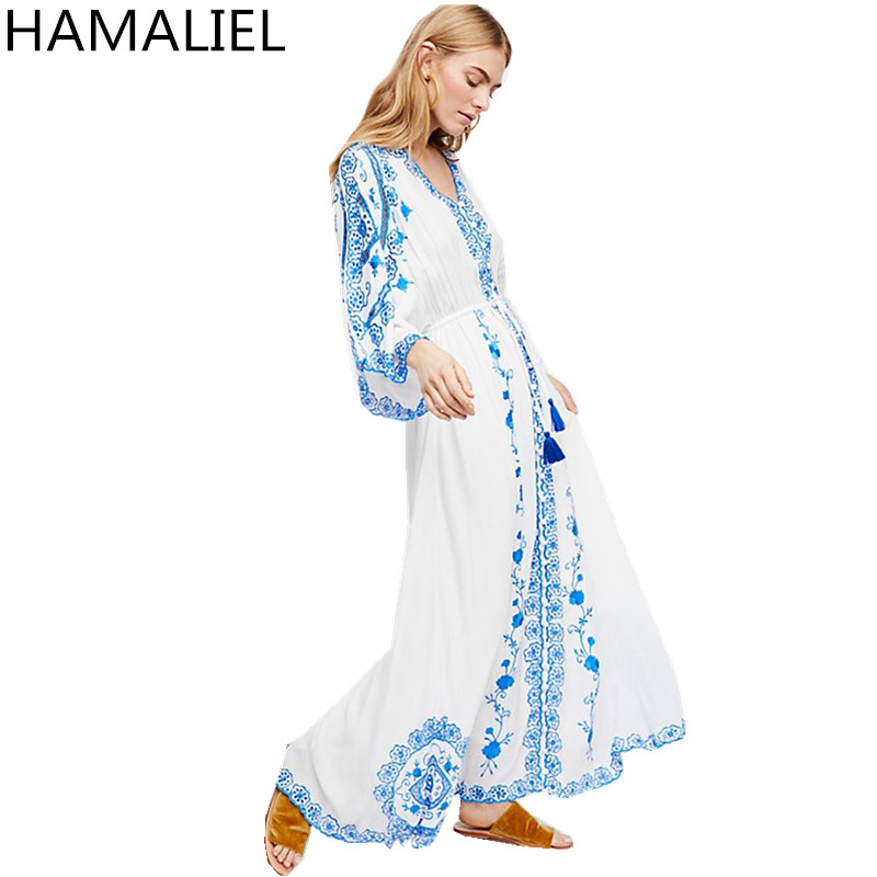 Бохо синий и белый фарфор Праздник Для женщин длинное платье 2018 Лето Хлопок Белый Вышивка цветы выдалбливают Макси пляжное платье