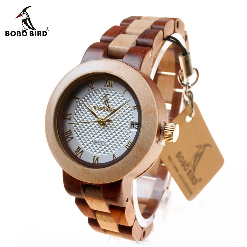BOBO BIRD L-M19 Calendar Wood Wristwatches Ladies New Top Band Japan Quartz Clock for Women in Gift Box Relogio Feminino