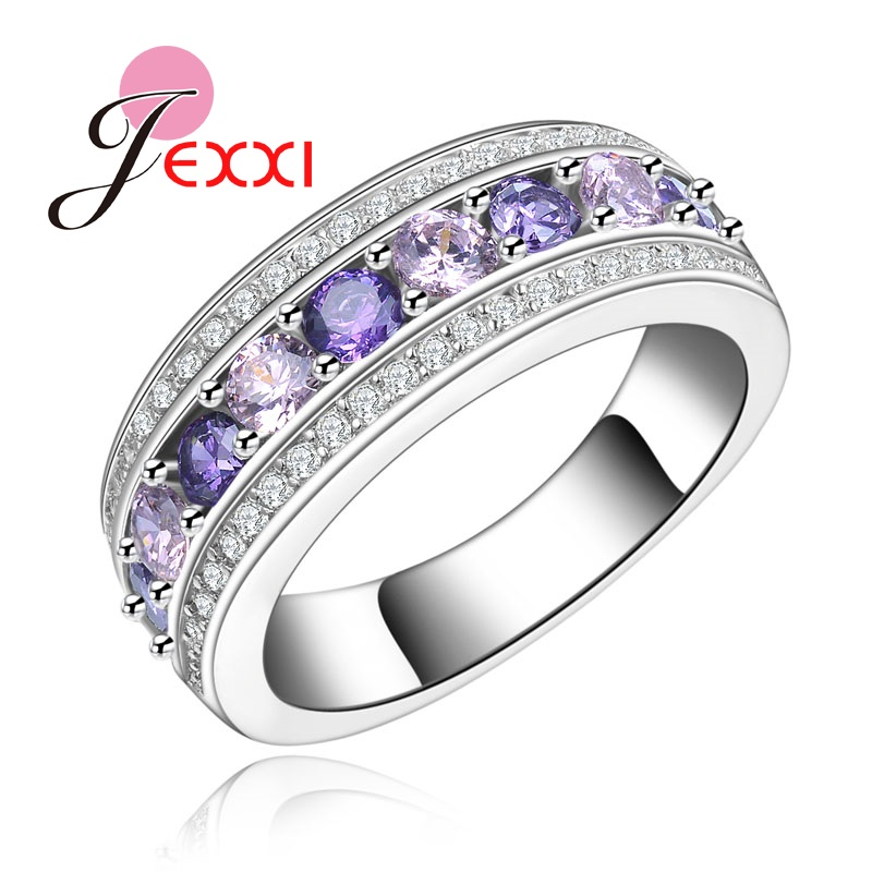 PATICO Round S925 Sterling Silver Ring Colorful AAA Cubic Zirconia Lady Party Beautiful Finger Rings For Wedding Bridal Jewelry