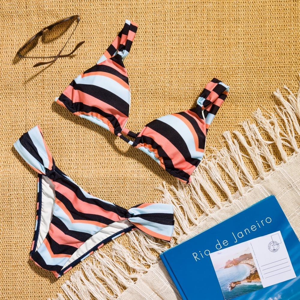 Women Sexy Striped Two Piece Split Bikini Swimsuit Swimwear 2019 Push Up Swimming Bathing Suit Biquini Plavky Maillot Tankini