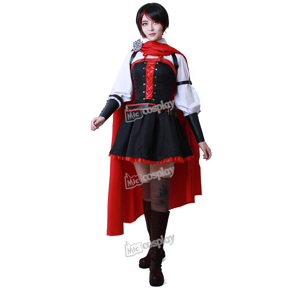 Ruby Rose Cosplay Kostym Anime Women Dress Cloak