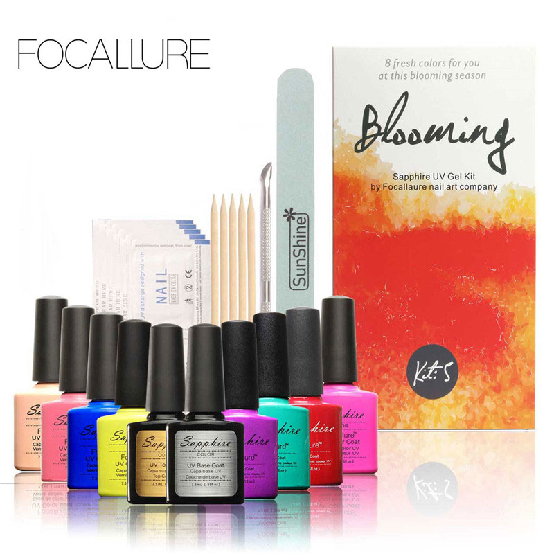 FOCALLURE Pro Soak-off Nail Gel Polish Starter Kit 8 Colors Soak Off Gel Top Base Coat Cleanser Removers Nail Art nail art manicure tools set uv lamp 10 bottle soak off gel nail base gel top coat polish nail art manicure sets