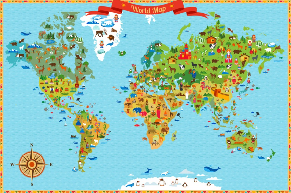 Custom papel de parede infantillandmarks world map3d cartoon mural custom papel de parede infantillandmarks world map3d cartoon mural for living room childrens room park wallpaper in wallpapers from home improvement on gumiabroncs Images