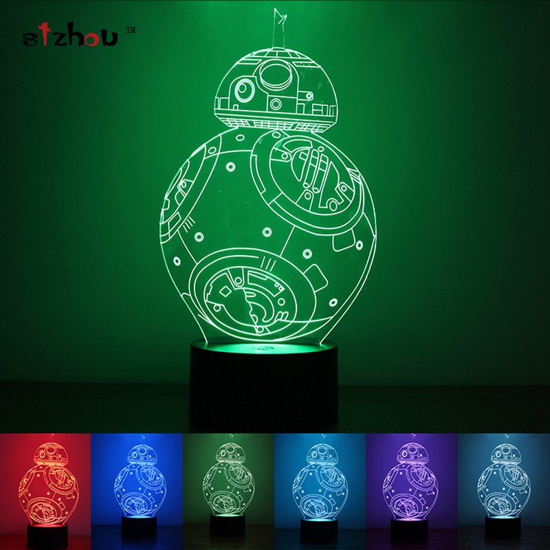 Star Wars BB8 droid 3D Bulbing Light Toys New 7 Color Changing Visual illusion LED Decor Lamp Darth Vader Millennium Falcon Toy  star wars bb8 droid 3d bulbing light toys new 7 color changing visual illusion led decor lamp darth vader millennium falcon toy