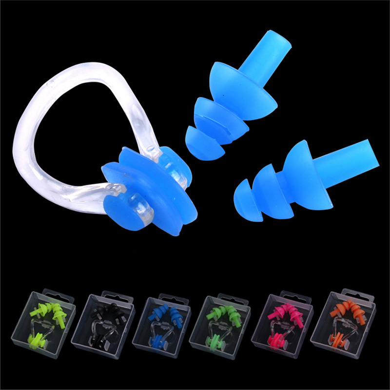 High Quality Silicone Swimming earplug adult Waterproof swimming ear plugs Soft Swim nose clip set with case Wholesale fender ear plugs touring musician concert series earplug does not muffle sound with convenient carrying case