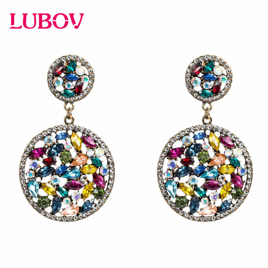 LUBOV Elegant Multi-color Acrylic Stone Round Drop Earrings Crystal Loop Pendant Dangle Earrings for Women Party Jewelry New