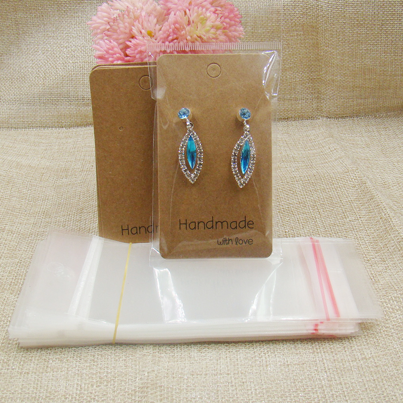 100pcs Earring Display Cards+100pcs Opp Bag Wholesale Kraft Earring Packing Card Paper Printed Handmade With Love Show Cards