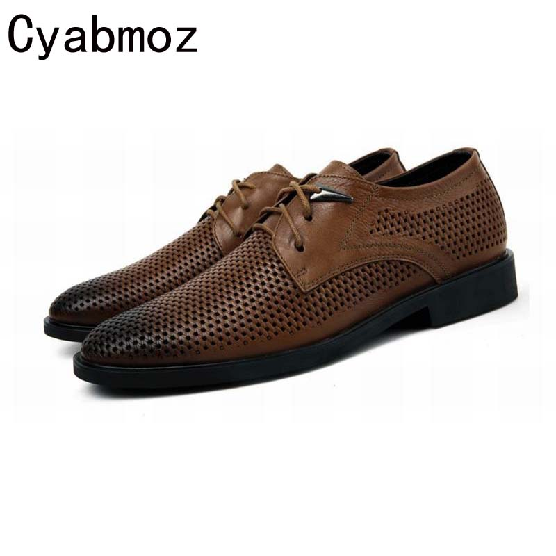 Plus Size 38-47 Summer Mens Dress Shoes Pointed Toe Breathable Fashion Casual Genuine Leather Male Retro Business Shoes Lace Up