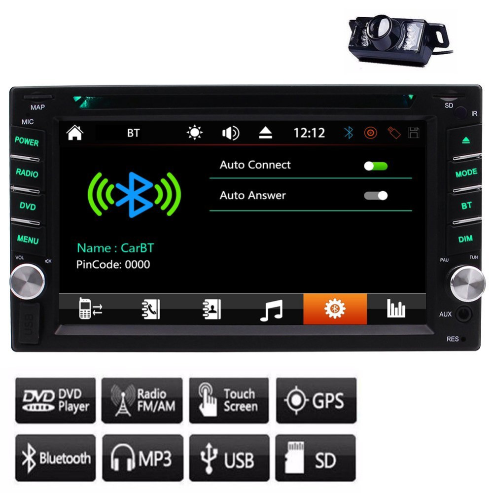 Car Stereo BT Audio Auto radio System Audio PC Car 1080p Video Receiver In Dash CD DVD Player 2 Din Head Unit+8GB SD Map Card цена 2017