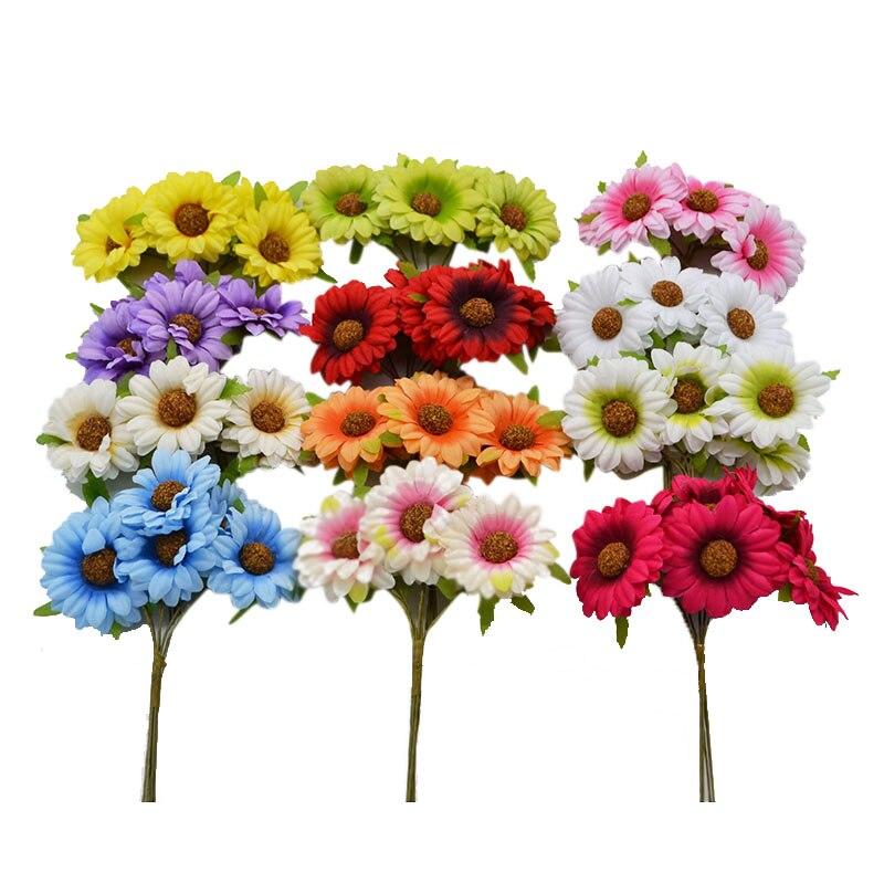 30pcs/lot Bouquet Artificial Sunflower Big Chrysanthemum Silk Flowers Fake Leaf Wedding Xmas Accessories Home Party Decor 8Z