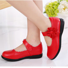 Red girl flowers kids leather only for teen shoes girl weddi