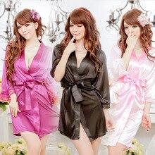 2016 Autumn Sexy Lingerie Bathrobe Satin Lace Black Kimono Intimate Sleepwear Robe Sexy Night Gown women sexy underwear+ G-Sting