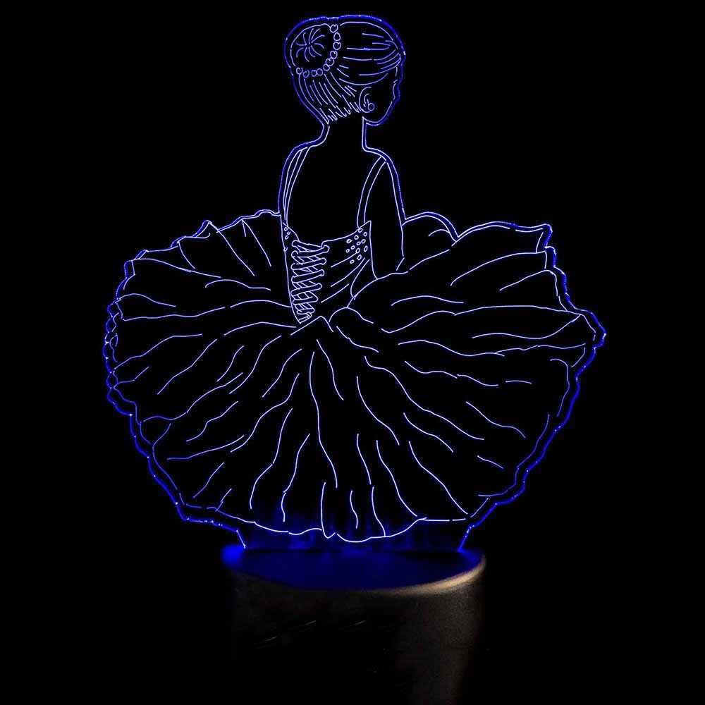 3D LED Dekorasi Kamar Tidur Malam Lampu USB Tari Rok Lampu Meja Bayi Tidur Visual Ballet Girls Pemodelan Lampu Anak-anak hadiah