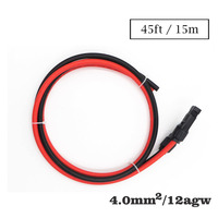 1Pairs x 12AWG 15m 4mm2 cable MC4 Connector male female Extension Connect branch red black extend