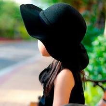 Autumn Winter Warm Kids Boys Girls Vintage Wide Brim Cap Soft Wool Felt Bowknot Bowler Floppy Children Sun Hat Beach Hat