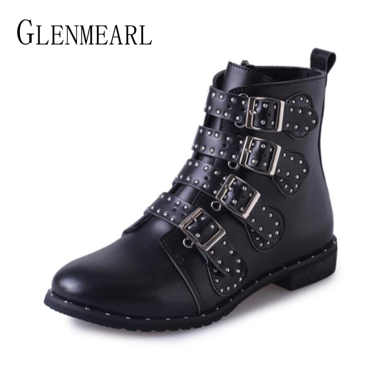 Women Boots Ankle Winter Shoes Fashion Rivets Buckle Strap Motorcyle Boots Woman Casual Shoes Flat Round Toe Female Boot Short fashion women shoes winter ankle boots brand black flat heel shoes autumn buckle strap round toe short boots woman plus size ce