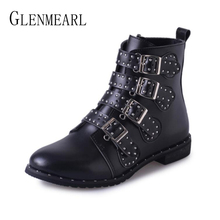 Women Boots Ankle Winter Shoes Fashion Rivets Buckle Strap Motorcyle Boots Woman Casual Shoes Flat Round Toe Female Boot Short red ankle boots studded rivets military boots designer shoes women luxury 2018 short combat cowboy boots womens buckle strap