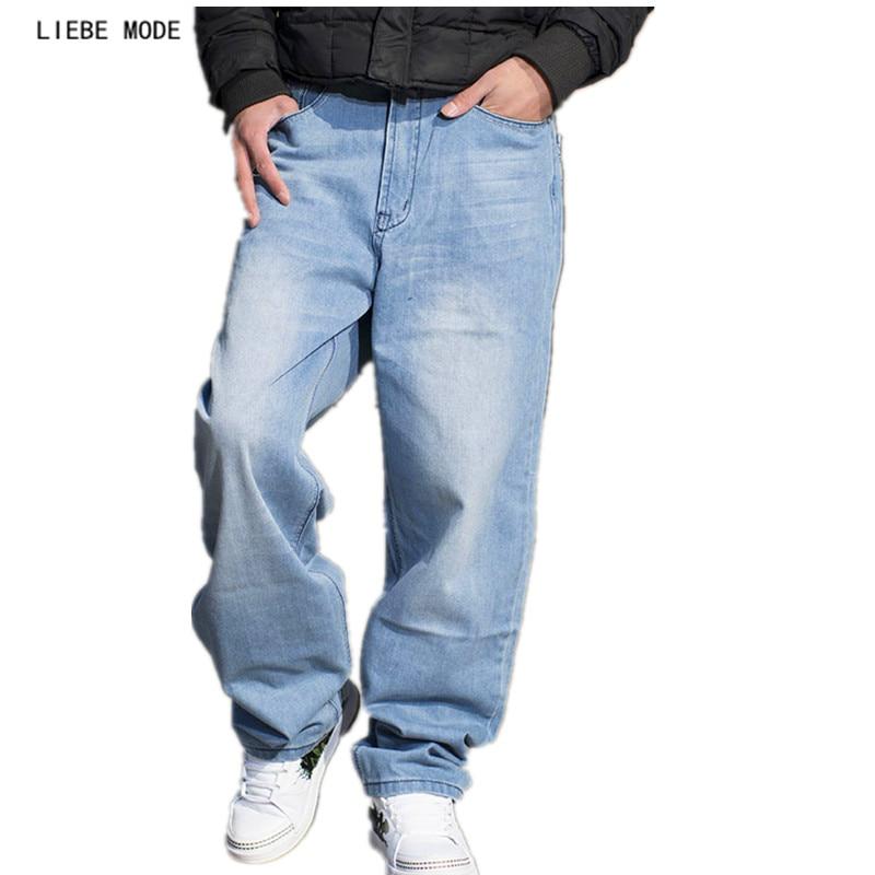 Hip Hop Jeans For Men 2017 New Fashion Light Blue Baggy Jeans Skateboard Denim Pants Mens Plus Size Loose Denim Jeans 40 44 46