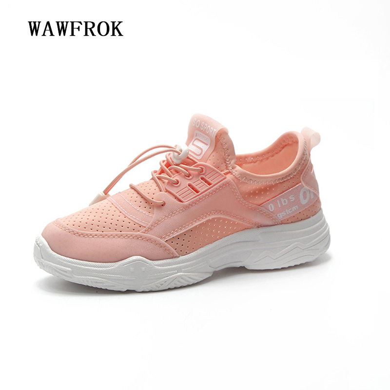 Women Casual Shoes 2018 Spring Summer Lycra Shoes Woman Flats Platform Fashion Lace-Up Breathable Women Sneakers