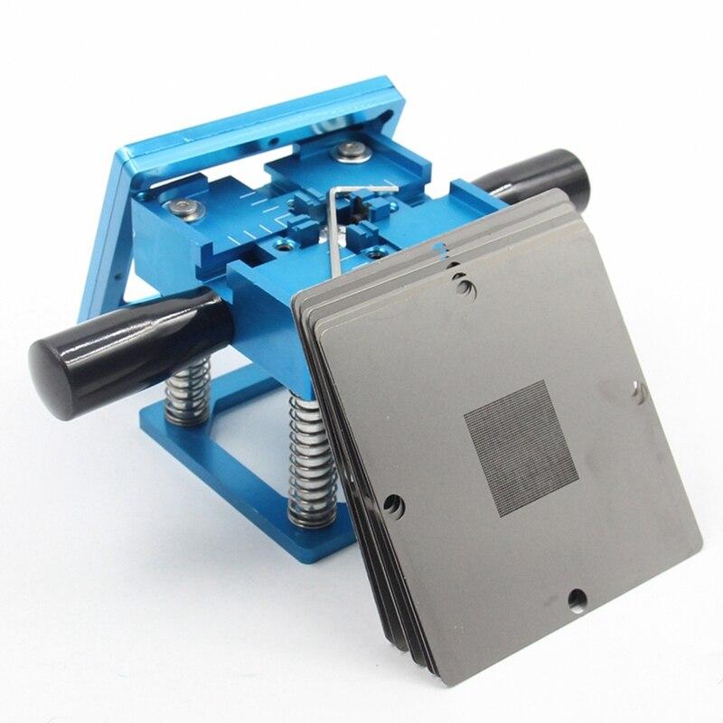 Bga azul reballing kit 90x90mm estação de reballing bga com haste de mão 10/pces bga universal estêncil