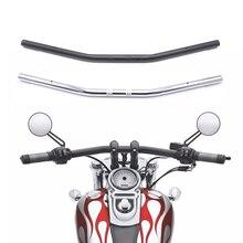 """Kierownica motocyklowa 1 """"25mm czarny chrom przeciągnij prosty pasek dla Honda Kawasaki Yamaha Suzuki Harley Chopper Bobber"""