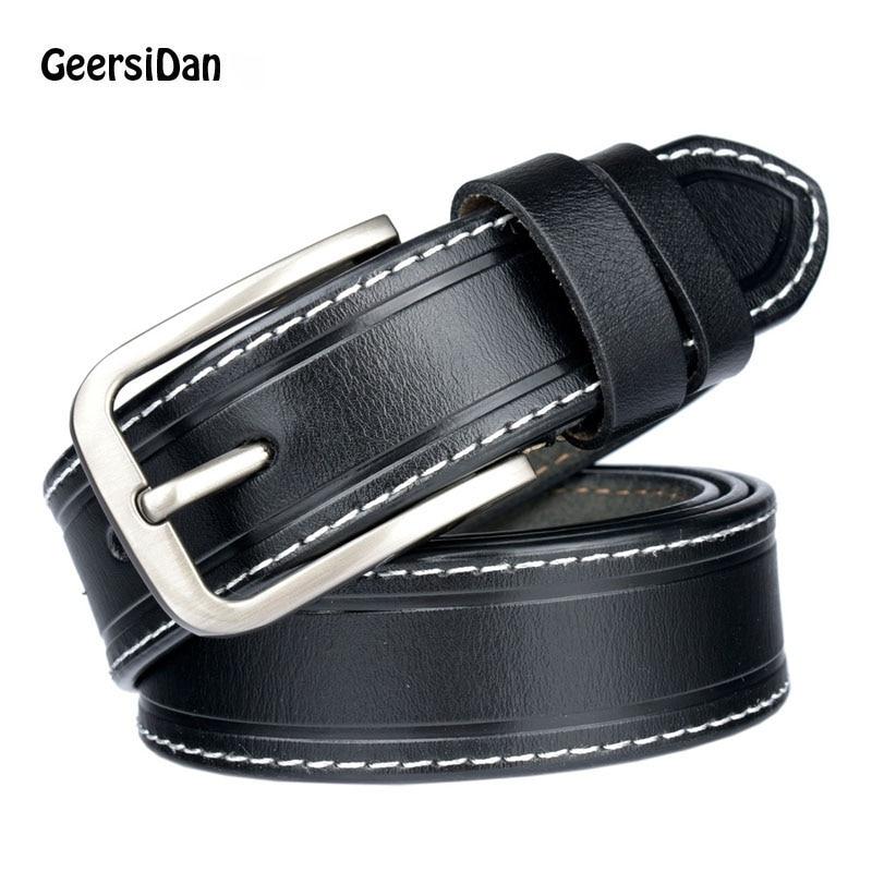 GEERSIDAN 2018 New High quanlit belt for female  Fashion Cowskin Leather Women Belt Brief Strap Designer Casual
