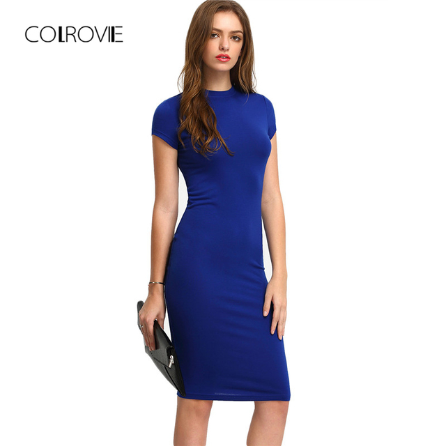 37c903b57afe COLROVIE Summer Office New Arrival Women's Bodycon Dresses Fashion Sexy  Short Sleeve Crew Neck Work Knee Length Dress