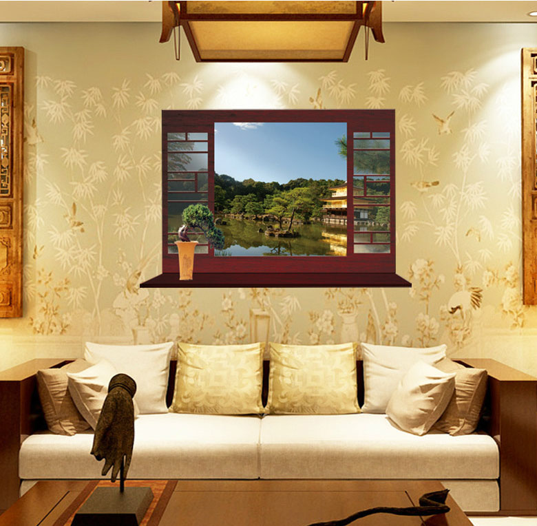 Fundecor New Chinese Style Summer View Lakeside Garden Landscape Fake Window Wall Stickers Home Decor Living Room In From