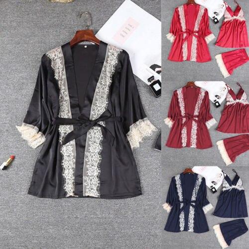 Сексуальное женское атласное кружевное ночное белье комплект женское нижнее белье комбинация шорты + Топы + халат 3 шт пижамный комплект s-xl