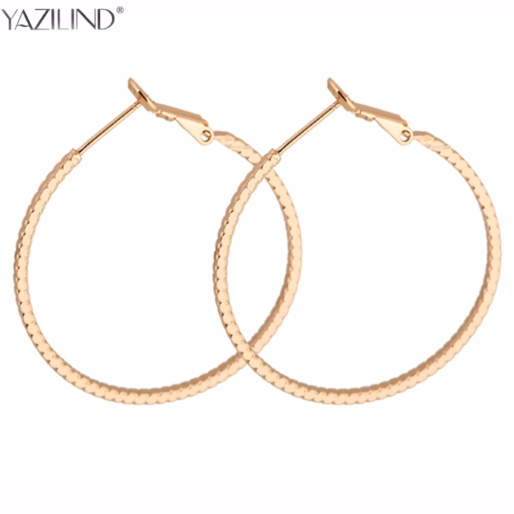 Yazilind Gold Color Huge Oval Hoop Earrings Basket Ball Wives Earring  Jewelry For Valentine's Day Party
