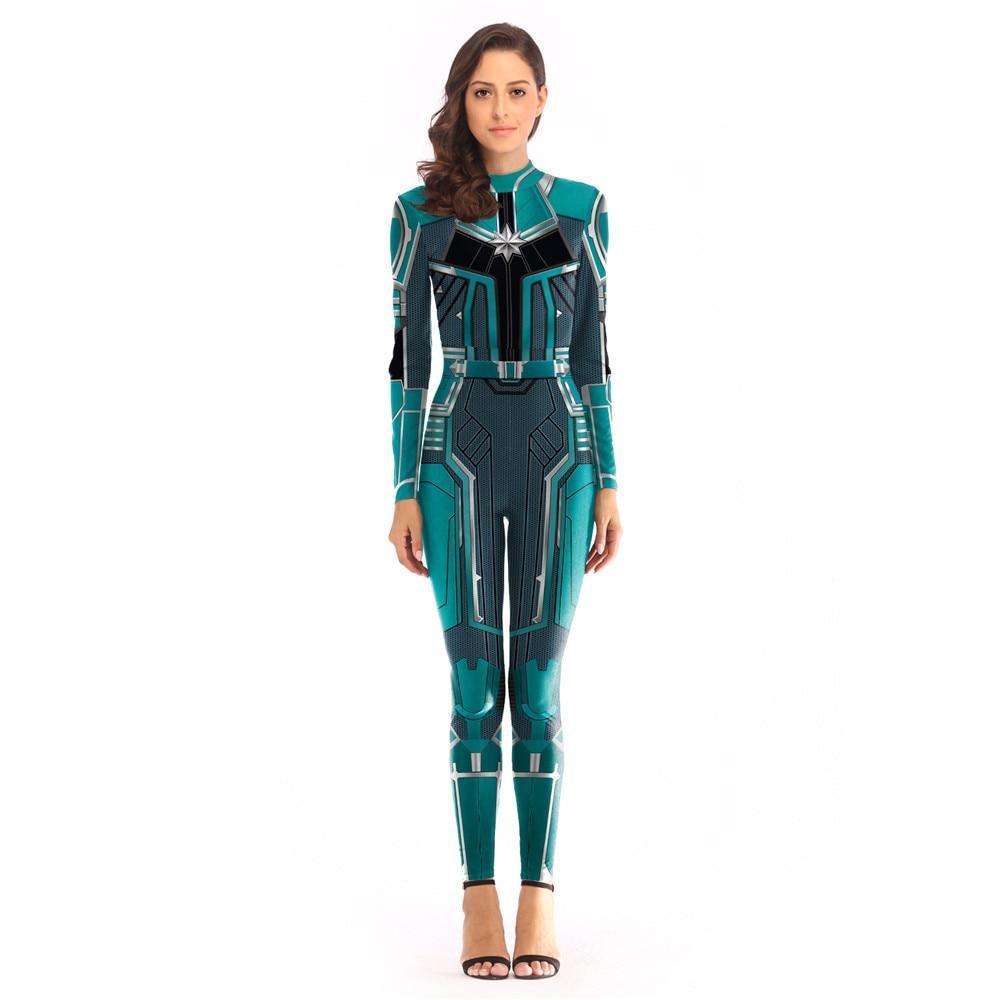 Woman Captain Marvel Ms Marvel Carol Danvers Cosplay Costume Superhero Bodysuit Suit Jumpsuits for Halloween Purim party