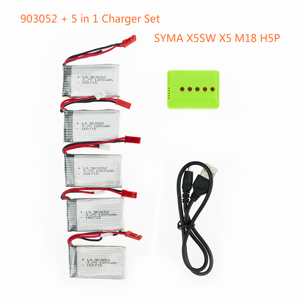 5 pcs 3.7 V 1200 mAh 25C Drone Rechargeable Lipo Batterie 903052 + 5 dans 1 Chargeur Set Pour RC SYMA X5SW X5 M18 H5P