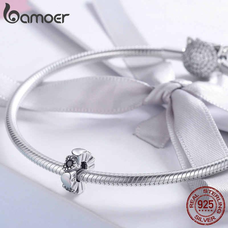 Bamoer 100% 925 prata esterlina coração amor coração para sempre espaçador contas charme ajuste charme pulseira diy jóias fazendo scc884