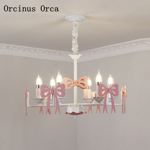 Nordic Modern Simple Pink Bow Chandelier Girl Bedroom Princess Room Children's Room Lamp Creative Color LED Candle Chandelier