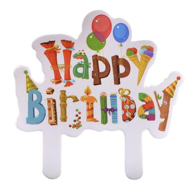 paper Cartoon Print Happy Birthday Cake Topper for Kids Birthday
