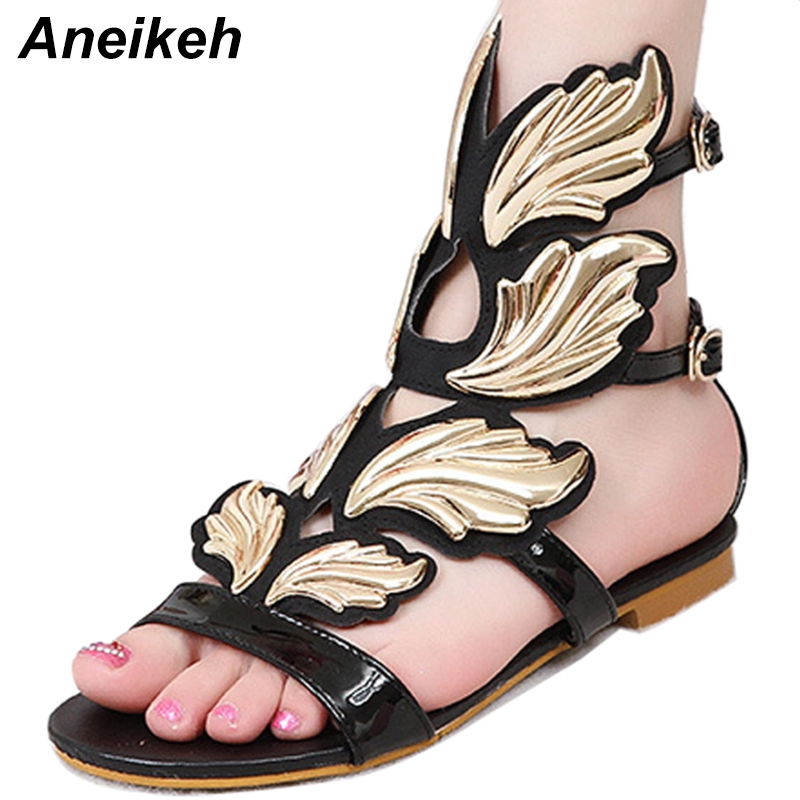 Aneikeh New Summer Fashion Sexy Personality Wings Sandals Women Buckle Casual Gladiator Ankle Strap Flat Shoes Size 35-41 hee grand gladiator sandals summer style 2017 new flat with shoes woman zip casual sexy women shoes ladies size 35 39 xwz1858
