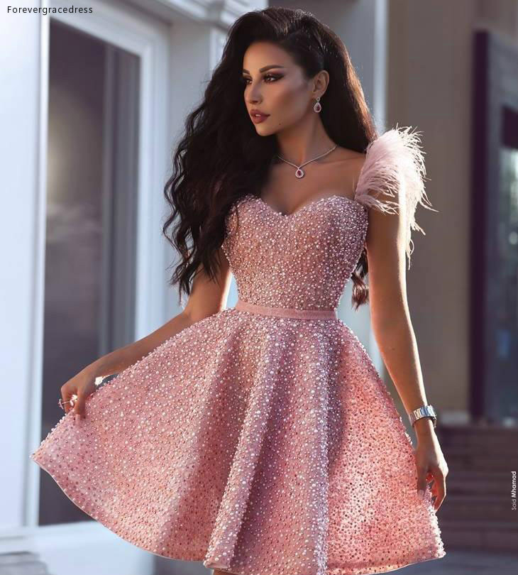 2019 Sexy Pink Cocktail Dress Arabic Dubai Style Knee Length Short Formal Club Wear Homecoming Prom Party Gown Plus Size