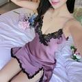 Mulheres Sexy Ladie V Flor Neck Lace Satin Lingerie Pijamas Babydoll Silk Nightgowns Pijamas Robe Noite Vestido chemise de nuit