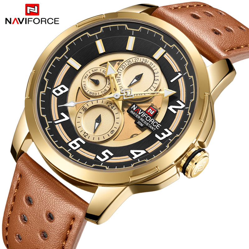 купить NAVIFORCE Business Fashion Retro Design Leather Band Alloy Quartz Wrist Watch Watches Men Luxury Sport Relogio Masculino по цене 1882.17 рублей