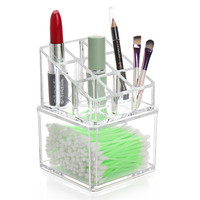 New Fashion Practical Clear Cosmetic Makeup Lipstick Storage Display Stand Case Rack Holder Organizer Makeup Case