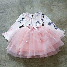 fc4956162a180a9 Платье с длинными рукавами для девочек для свадьбы Детские цветочный принт  костюм формальные Пышное Платье Дети