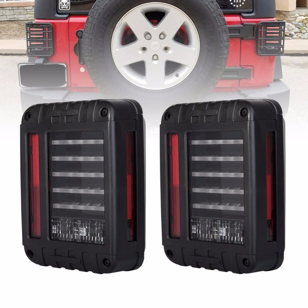 Wrangler LED Reverse Brake Tail Lights With EU / US Standard Plugs For JEEP JK WRANGLER Tail light Car Light Replacement LIght windshield pillar mount grab handles for jeep wrangler jk and jku unlimited solid mount grab textured steel bar front fits jeep