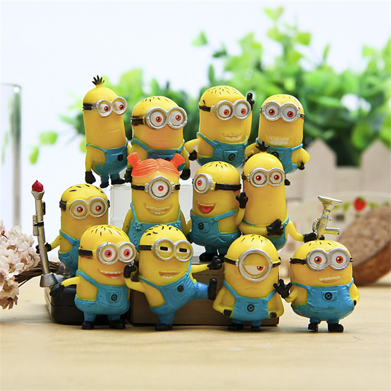 Hot! Free Shipping 12pcs/set 3-4cm Different Minions Despicable Me 2 PVC Action Figures Micro View Dolls For Children Gifts Toys
