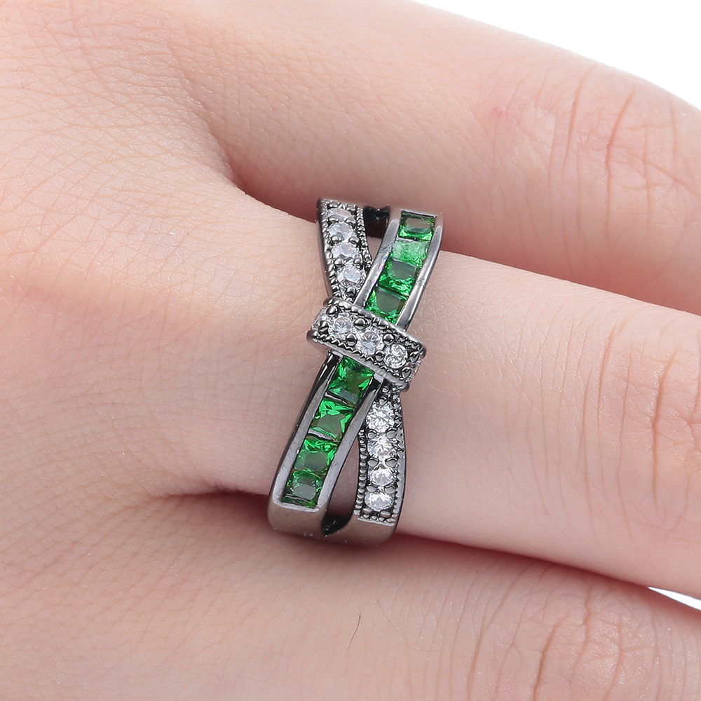 Purple Pink Color Cross Finger CZ Zircon Ring For Women