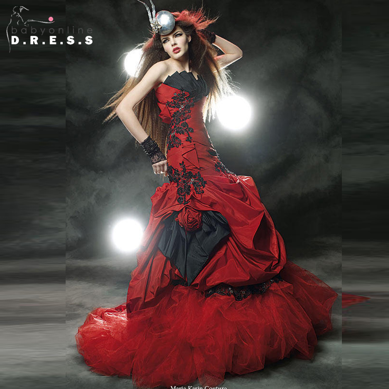 red black gothic wedding dresses 2017 meramid taffeta wedding bridal